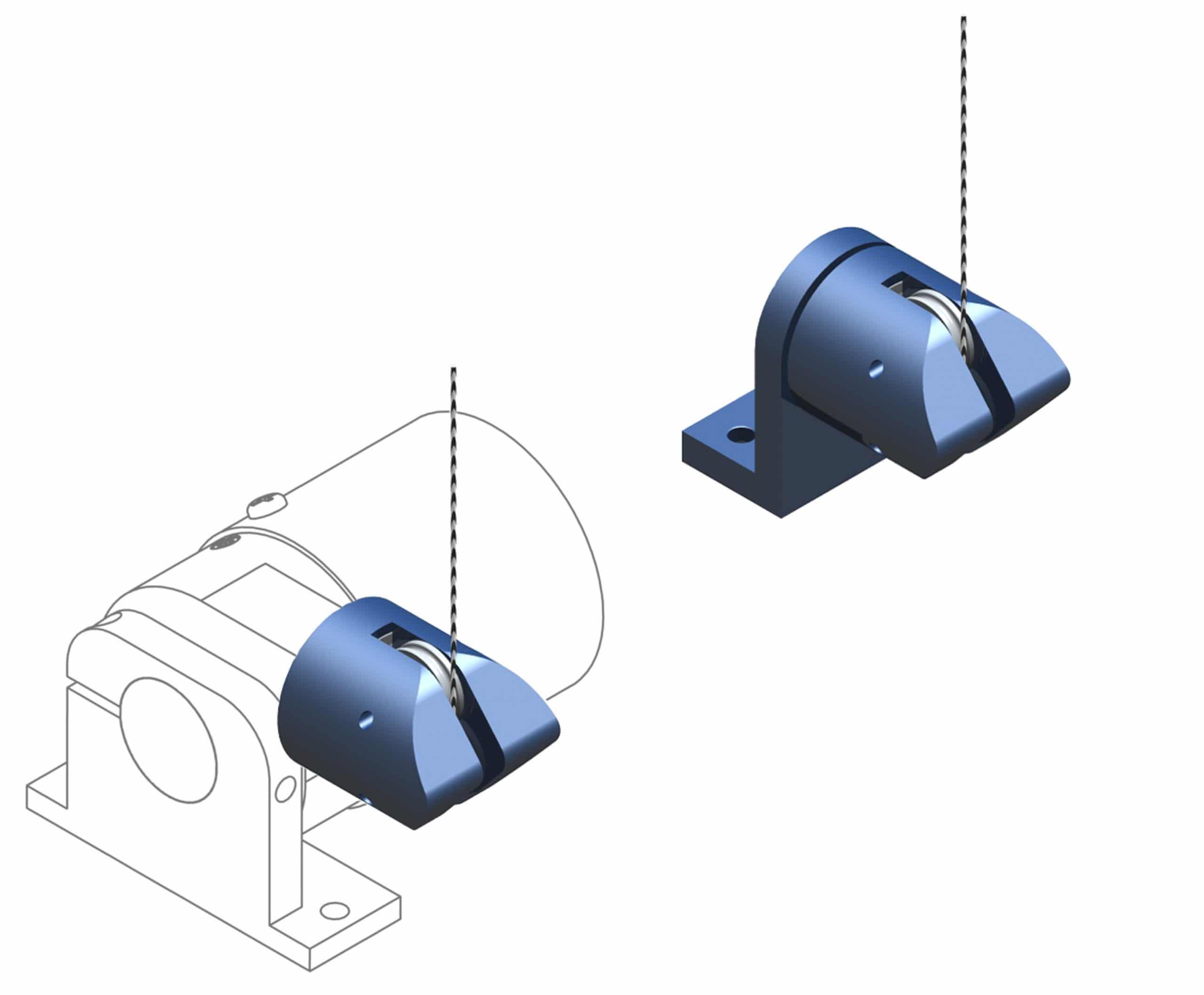 RoundAbout 2D/3D Messseilführung mit Zeichung Seilzugpotentiometer