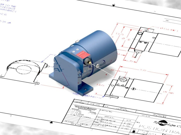 Seilzugpotentiometer mit CAD Zeichnung