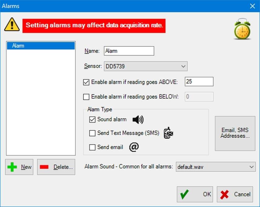 Software LoadVUE Pro Kraftmessung Alarm-Einstellung