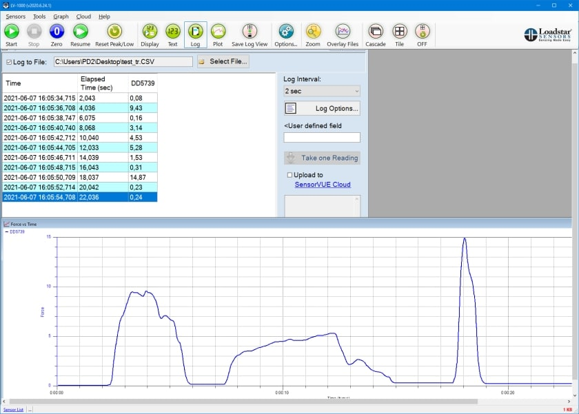 Software LoadVUE Pro Kraftmessung log Diagramm
